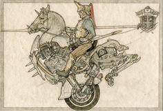 「日清日露戦役擬畫」より「フランス重騎兵」 2002 紙に鉛筆、ペン、水彩 ©YAMAGUCHI Akira Courtesy Mizuma Art Gallery