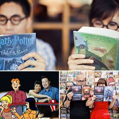 harry potter geeky engagement photo
