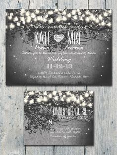 Romantic Garden and Night Light Wedding Invitation and Reply Card Set - Wedding Stationery on Etsy