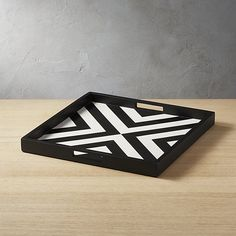 On sale. Shop Inlay Black and White Serving Tray. Alternating mango wood and resin create a super graphic repeating pattern on this black and white serving tray. Rectangular handle cutouts make drink service steady. Modern Serving Trays, White Serving Tray, White Tray, Outdoor Dinnerware, Dinnerware Sets, How To Make Drinks, Coffee Table Tray, Crate And Barrel, Home Decor Inspiration