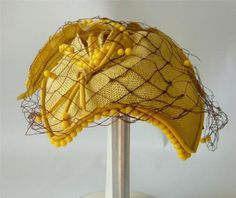 Vintage-Bes-Ben-Hat-Chicago-Yellow-Beaded-with-Netting-70s-but-40s-50s-Style