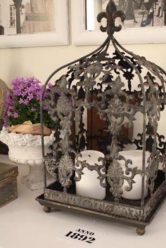 fleur de lis lantern with candles