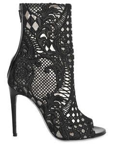 Balmain Guipure Lace Open Toe Boots
