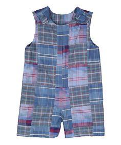 Blue & Red Patchwork Romper - Infant & Toddler