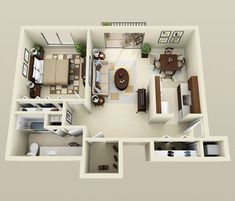 We feature 50 studio apartment plans in perspective. For those looking for small space apartment plans, your search ends here. Studio Apartment Floor Plans, Condo Floor Plans, Studio Floor Plans, Studio Apartment Layout, Kitchen Floor Plans, Apartment Plans, One Bedroom Apartment, Small House Interior Design, Small Room Design