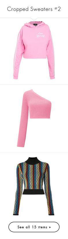 """""""Cropped Sweaters #2"""" by deborahsauveur ❤ liked on Polyvore featuring tops, sweaters, grunge sweaters, cropped jumper, cropped sweater, pink sweater, gothic sweaters, pink, pink crop top and long-sleeve crop tops"""