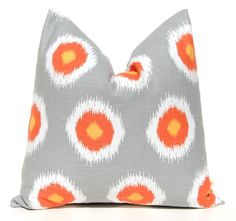 Gray Pillows Throw Pillow Covers Decorative PIllows Cushion Covers 16 x 16 Inches Orange and Gray Ikat Dots, via Etsy.