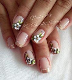 Unhas com Flores Flower Nail Designs, Flower Nail Art, Nail Art Designs, Gorgeous Nails, Pretty Nails, Dream Nails, Nail Decorations, Stylish Nails, Cool Nail Art