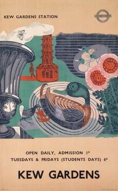 Poster by Edward Bawden, 1936, Kew Gardens for London Transport
