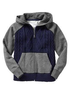 Mix-media zip hoodie Product Image