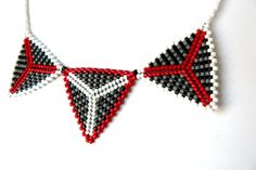 Beadwork Necklace Bead Woven Triangle Necklace Red Black Grey White Geometric Jewelry
