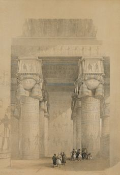David Roberts - Egypt and Nubia, Volume II; View from Under the Portico of the Temple of Dendera, 1849