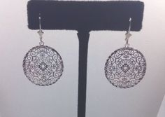 SILVER Filigree Earrings Solid Sterling Silver.925 Lever Backs Rhodium Plated #GianniDeloroJewelry #DropDangle