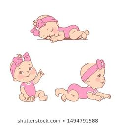 Set Smiling Little Baby Girl Diaper stock vector (royalty free) 149479158 . - Set Smiling Little Baby Girl Diaper Stock Vector (royalty free) 1494791588 – Natalia Zelenina Sto - Baby Shawer, Little Baby Girl, Baby Art, Cute Baby Girl, Baby Play, Little Babies, Family Illustration, Cute Illustration, Baby Girl Drawing