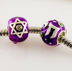 Judaica Jewelry Sterling Silver Slider-Bead with Magen David Star of David and Chai in Black. $38.00, via Etsy.