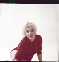 "Color camera transparency of Marilyn Monroe from ""Red Sweater"" sitting by Milton Greene. Color 2.25 x 2.25 in. camera transparency on Ektachrome film of Marilyn Monroe from ""Red Sweater"" sitting by Milton Greene."
