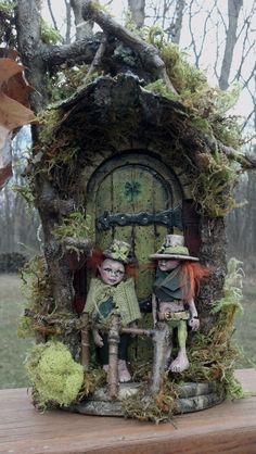 Fairy door and elves set by CindiBee on Etsy, $95.00
