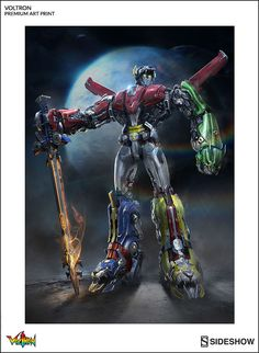 Ready to form Voltron? Well relax because the Voltron Defender of the Universe Premium Art Print has already done that for you. Voltron Force, Robot Cartoon, Japanese Robot, Voltron Comics, Cartoon Tv Shows, Robot Concept Art, Mecha Anime, 90s Cartoons, Sideshow Collectibles