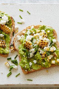 CHARRED CORN, GOAT CHEESE AND AVOCADO OPEN-FACED SANDWICH - 15 Open-Faced Sandwiches You Need to Try via @PureWow