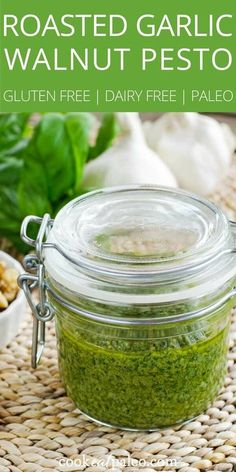 This quick and easy dairy-free roasted garlic walnut pesto sauce uses garlic roasted on the grill and fresh homegrown basil. Try it on grilled chicken or burgers. Use it as a dip for raw vegetables or a sauce for roasted vegetables. And of course, tossed Gluten Free Sauces, Paleo Sauces, Dairy Free Recipes, Paleo Recipes, Real Food Recipes, Cooking Recipes, Pesto Sauce, Pesto Recipe, Tortellini