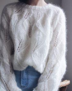 Fluffy Sweater, White Knit Sweater, Angora Sweater, Crochet Shirt, Knit Crochet, Sweater Knitting Patterns, Sweater Design, Lana, Sweaters