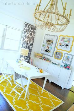 oegboard organizational wall office at Tatertots and Jello. Swoon, I am in love with pegboard organizers!
