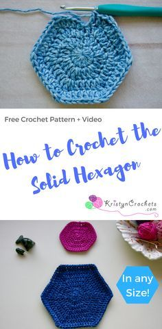 Learn how to crochet the Solid Hexagon, free video, written and photo tutorial. This tutorial will cover how to crochet a solid (no holes) hexagon in any size, great for beginners looking to learn crocheted shapes.
