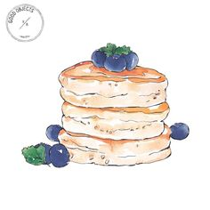Good objects - Pancakes and blueberries #goodobjects #foodillustration #watercolor #illustration