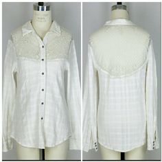"""Free People button up shirt Sz S.  Free People button up shirt. Gauzy-like fabric with sheer floral mesh or lace at top of shirt in front and back. Long sleeves. Cotton.   Approx measurements Bust 35"""" Length 27"""".  Good condition no flaws. Free People Tops Button Down Shirts"""