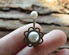 Fleur d'or perle nombril anneau, Piercing au nombril perle, amitié ventre anneaux, Piercing de nombril, ventre bijoux