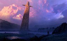"""""""The Sword of The Unstoppable God"""", Espen Olsen Sætervik on ArtStation at https://www.artstation.com/artwork/yE4m9"""