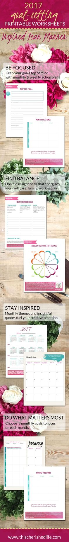 PRINTABLE 2017 goal setting worksheets - Set goals that matter for work life balance especially for busy moms setting goals, goal setting #goals #planner #2017