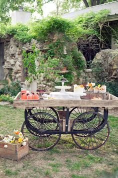 Buffet table, the little wagon would be too cute as a drink station