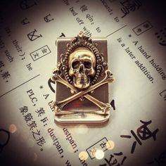 NEW  Sumatra Money Clip  Skull Crossbones Made by blackpersimmons, $23.00