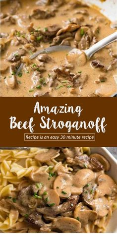 beef recipes for dinner The most amazing Beef Stroganoff you will ever have! Golden seared juicy beef strips smothered in an incredible sour cream mushroom gravy, this Beef Stroganoff recipe is an easy 30 minute recipe. Whole30 Beef Recipes, Healthy Beef Recipes, Beef Recipes For Dinner, Easy Appetizer Recipes, Ground Beef Recipes, Crockpot Recipes, Cooking Recipes, Stewing Beef Recipes, Thin Steak Recipes