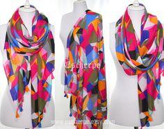 #scarf #scarves #scarfs #fuchsia #pink #orange #navy #blue #women #fashion #accessories #gift #tassel #geometric