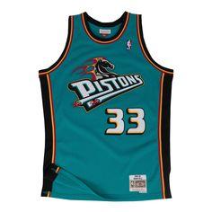 698a58d989c1 Men s Grant Hill Detroit Pistons Mitchell   Ness Teal Throwback Swingman  Jersey