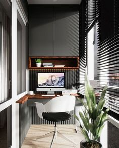 47 Turning Small Balcony into Home Office Ideas - Balcony Decoration Ideas in Every Unique Detail Office Interior Design, Home Office Decor, Office Interiors, Interior Design Living Room, Home Decor, Small Balcony Decor, Balcony Design, Home Office Inspiration, Office Ideas