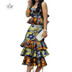 Image of Fashion Multilayer Draped Print Top & Skirt Sets Bazin Riche African Wax Dresses for Women 2 Pieces Skirts Sets Clothing Ankara Short Gown Styles, Trendy Ankara Styles, Short Gowns, African Fashion Dresses, African Dress, African Lace, African Style, 2 Piece Skirt Set, Scarf Styles