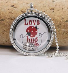 Memory Floating Charm Locket Necklace  Love Bug by katinn on Etsy