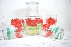 Vintage Carafe and Tumblers Red and Green by Dupasseaupresent