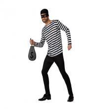 Disfraz de Ladrón para hombre. Disponible en varias tallas. Incluye pantalón, camiseta, antifaz y pañuelo para la cabeza. La bolsa la podrás encontrar con la referencia: 18202GUI.
