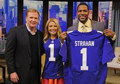 NFL commissioner Roger Goodell, left, poses with Kelly Ripa and Michael Strahan after presenting them with NFL Draft first round jerseys on LIVE with Kelly and Michael Tuesday, April 23, 2013 in New York. The NFL Draft begins Thursday