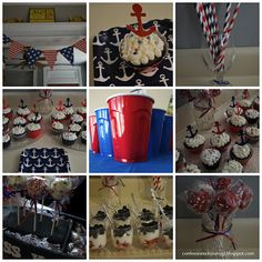 Nautical themed party for any age!  Welcome back to the US party, military, milso, Navy Girlfriend, sailor, anchor, cake pops, cupcakes, american flag