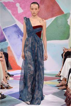 Schiaparelli Atelier Autumn/Winter 2016 - AW16 - Blue and burgundy draped dress