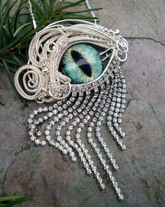 Gothic Steampunk Silver Evil Eye Pin Pendant by @twistedsisterarts