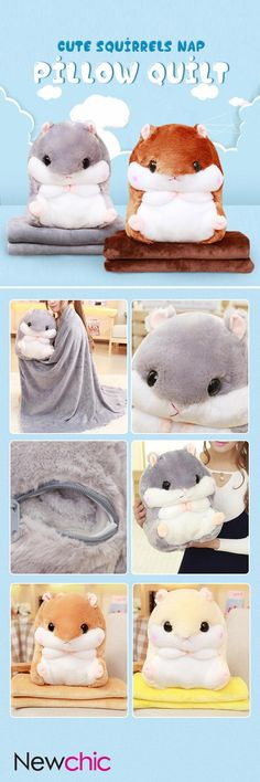$21.19 Cute Squirrels Nap Pillow Quilt Cushion Car Air Conditioning Blanket Cushion Quilt Double Use