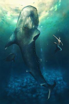 【海の中でダンス】海の絵。深い青に癒されます。ティカと海のお友達を描きました。