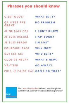Common French Phrases Every French Learner Should Know Learn 50 Common French., 50 Common French Phrases Every French Learner Should Know Learn 50 Common French., 50 Common French Phrases Every French Learner Should Know Learn 50 Common French. Common French Phrases, Basic French Words, How To Speak French, French Travel Phrases, Useful French Phrases, French Expressions, French Language Lessons, French Language Learning, Learn A New Language