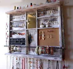 Jewelry holder. Large earrings display shelf. White jewelry